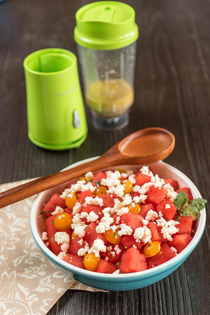 Sallad med vattenmelon, tomat och fetaost